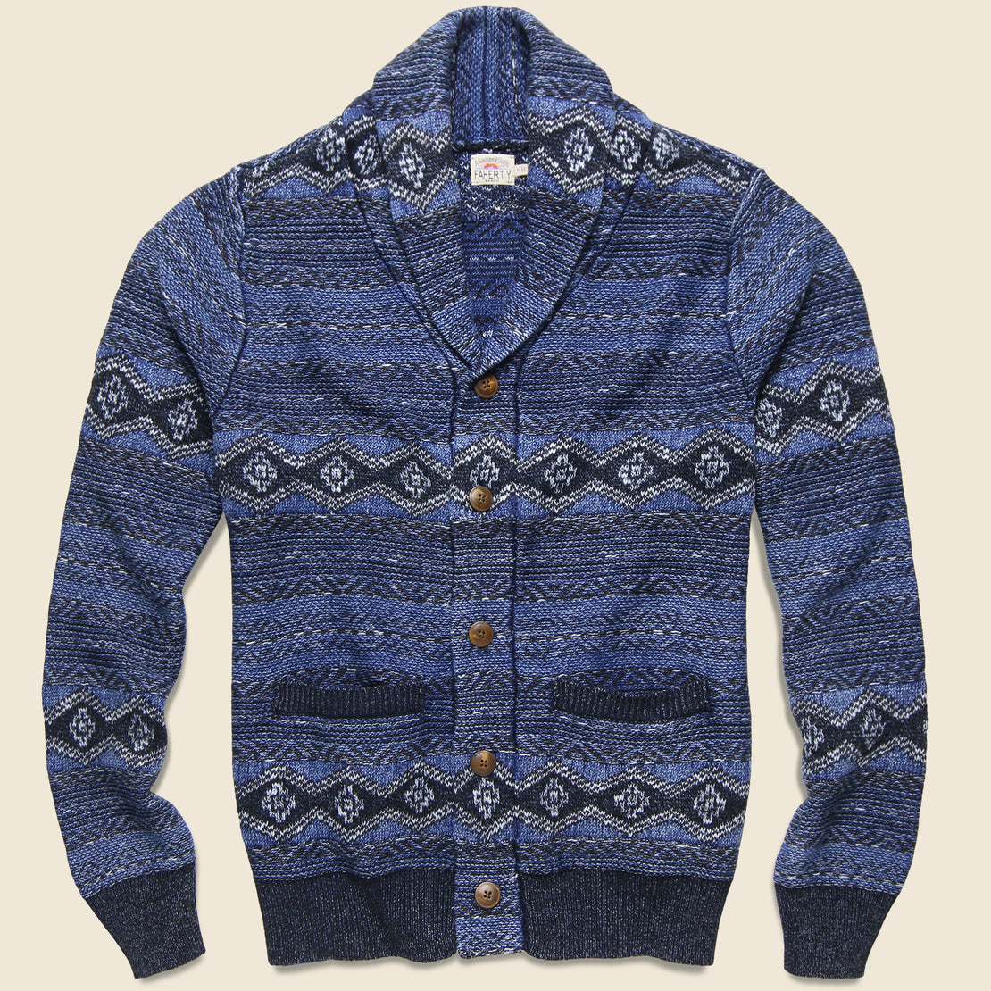 Faherty Indigo Shore Cardigan - Mixed Indigo