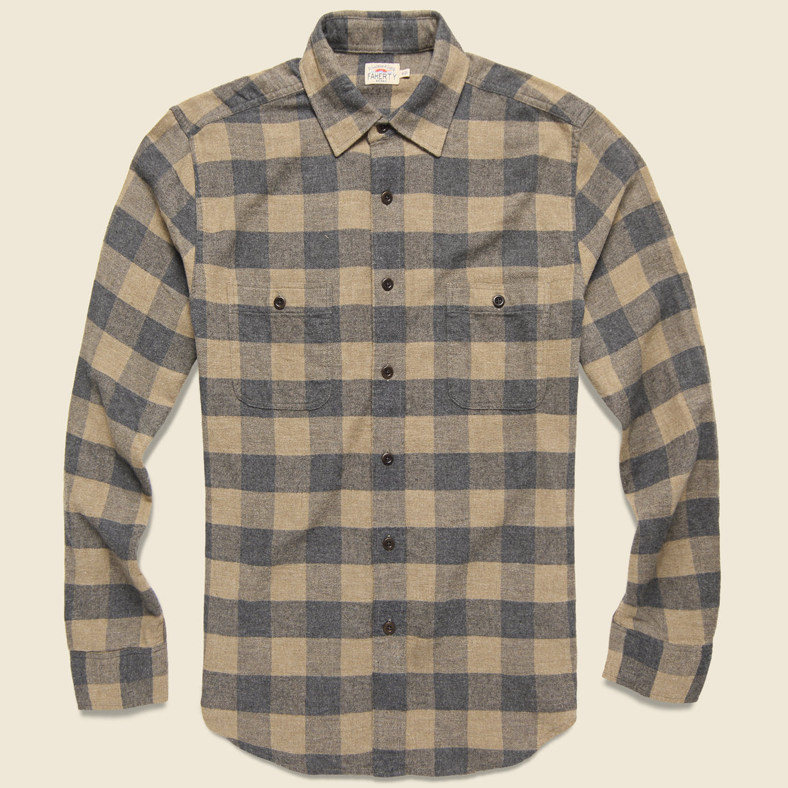 Faherty Brushed Alpine Flannel - Sand Charcoal Buffalo