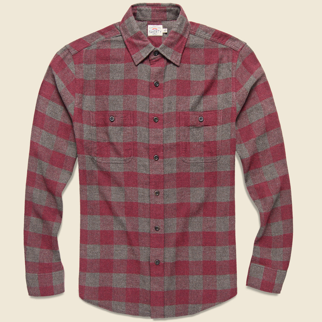 Faherty Brushed Alpine Flannel - Wine/Chestnut Buffalo