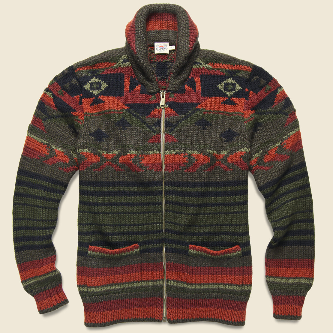 Faherty Winter Woods Cardigan - Green/Brown/Orange