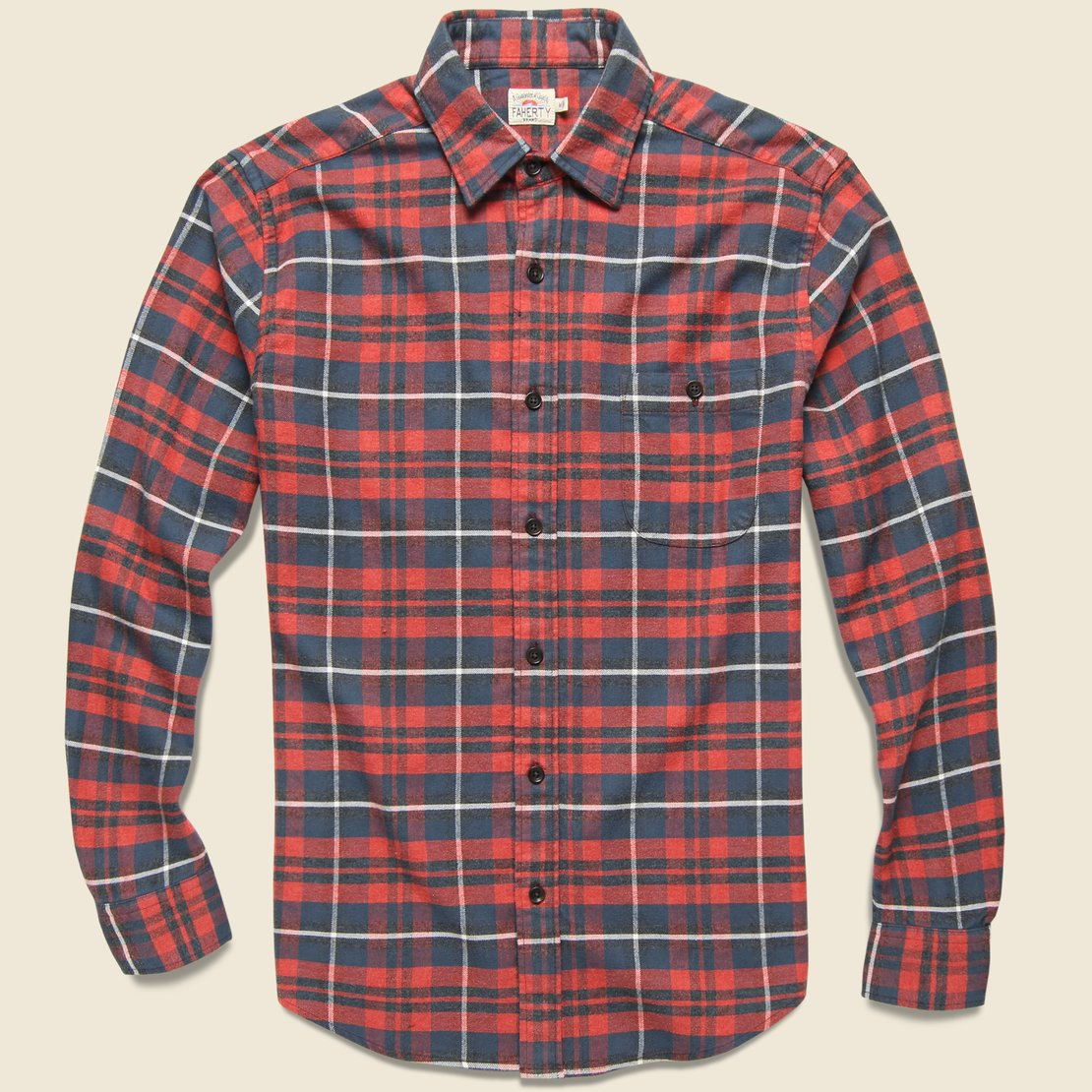 Faherty Stretch Seaview Shirt - Red/Charcoal/Grey