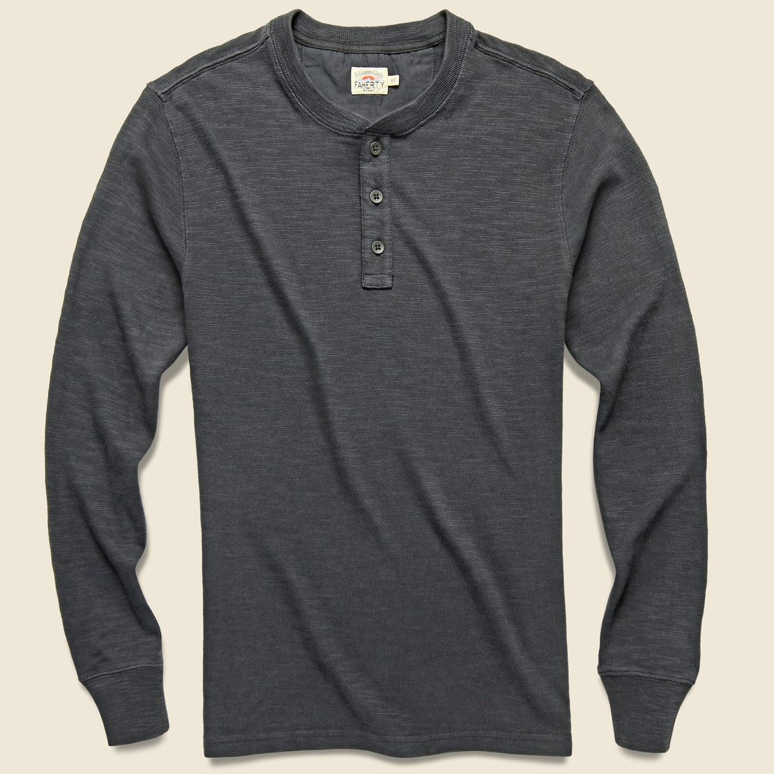 Faherty Slub Cotton Henley - Washed Black