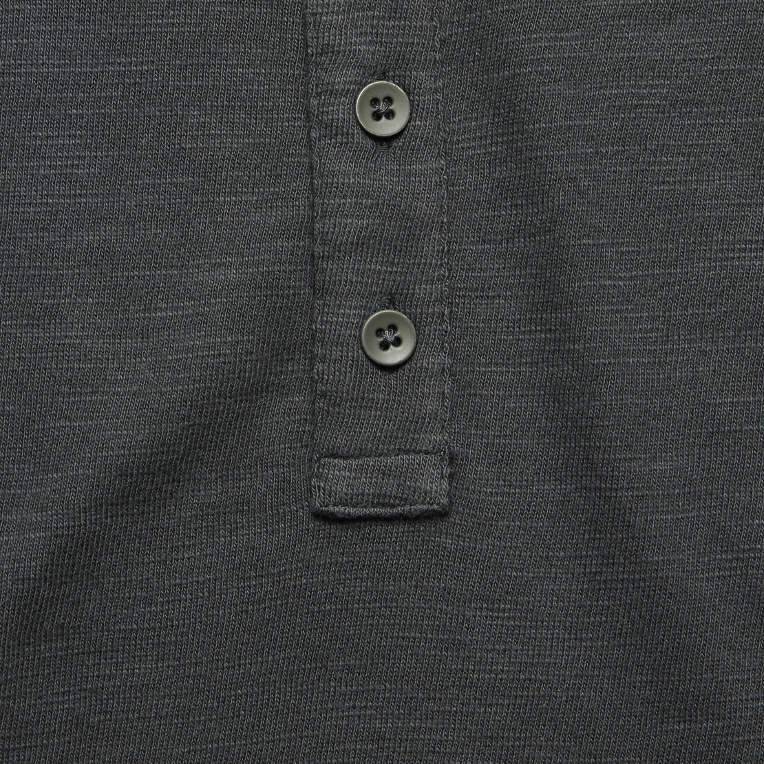 Slub Cotton Henley - Washed Black
