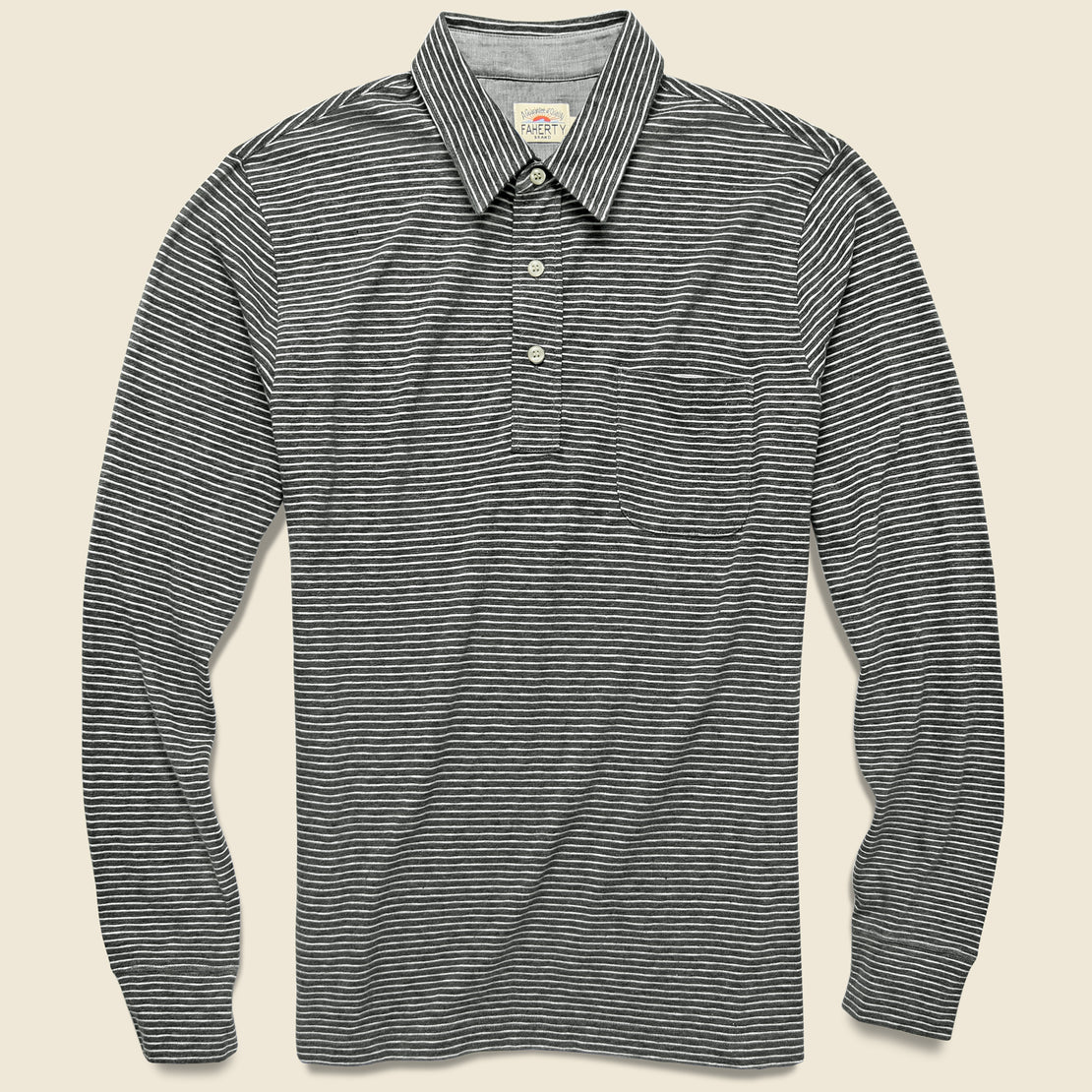 Faherty Luxe Heather Polo - Charcoal Grey Stripe