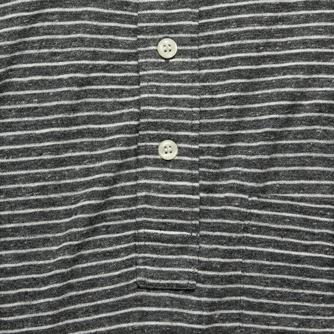 Luxe Heather Polo - Charcoal Grey Stripe