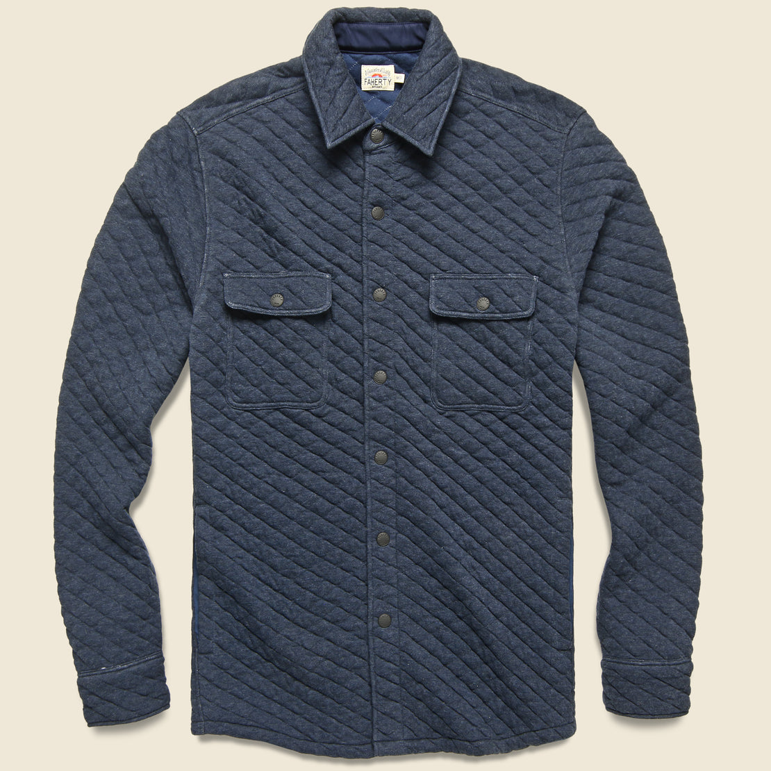 Faherty Quilted Belmar CPO Shirt Jacket - Dark Navy Heather
