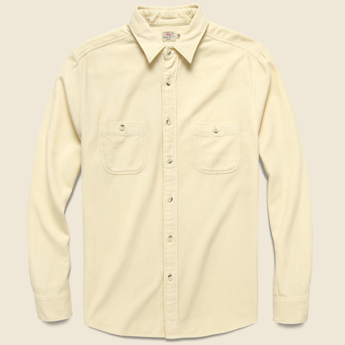 Faherty Brushed Alpine Flannel - Cream
