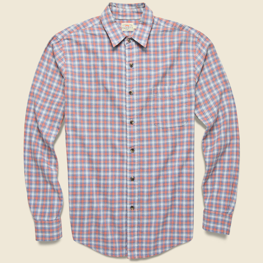 Faherty Movement Melange Shirt - Half Moon Bay Plaid