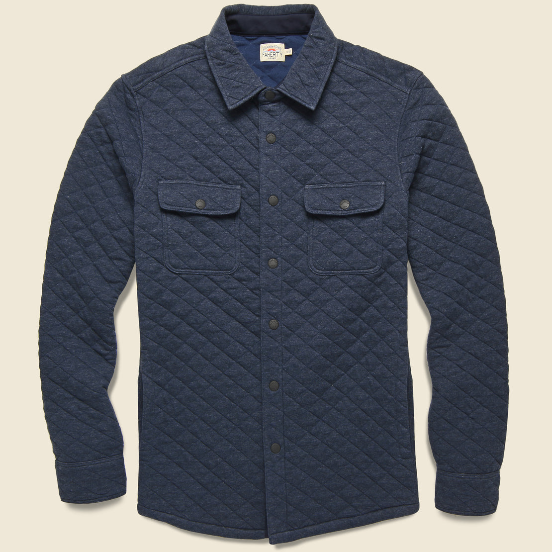 Faherty Epic Quilted Fleece CPO - Navy Melange