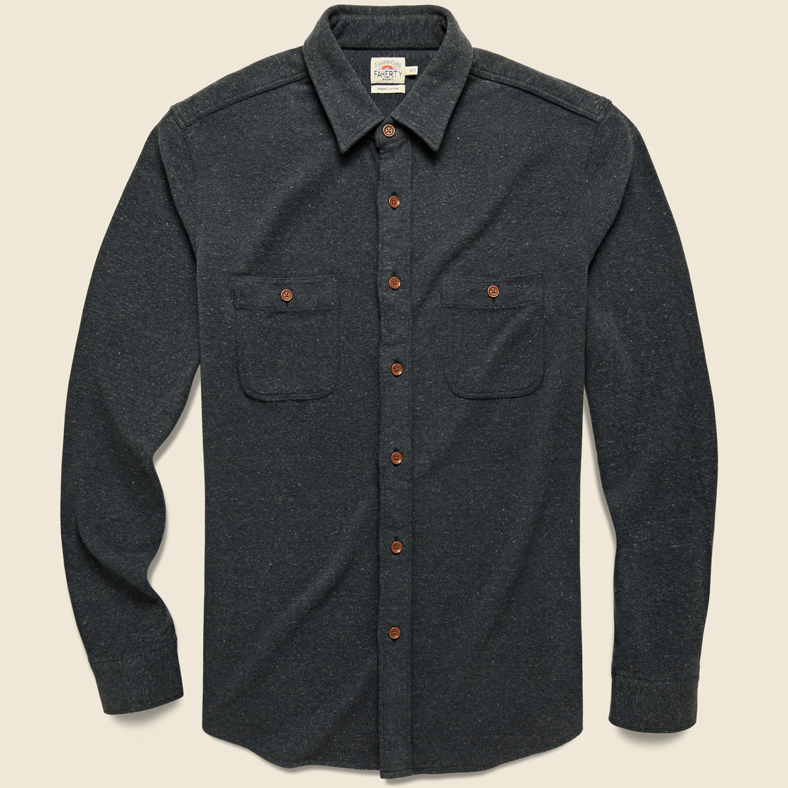 Faherty Knit Alpine Flannel - Charcoal Heather