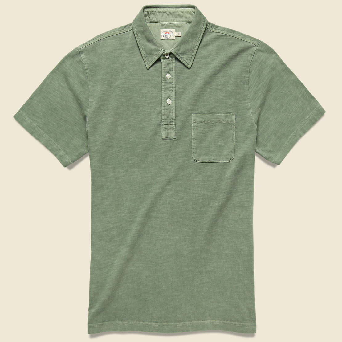 Faherty Garment Dyed Polo Shirt - Spring Olive