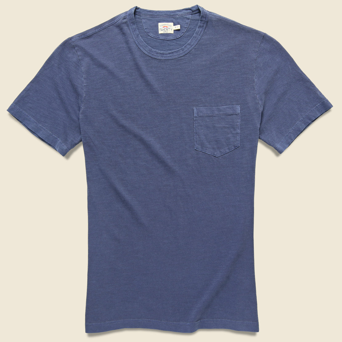 Faherty Garment Dyed Pocket Tee - Navy