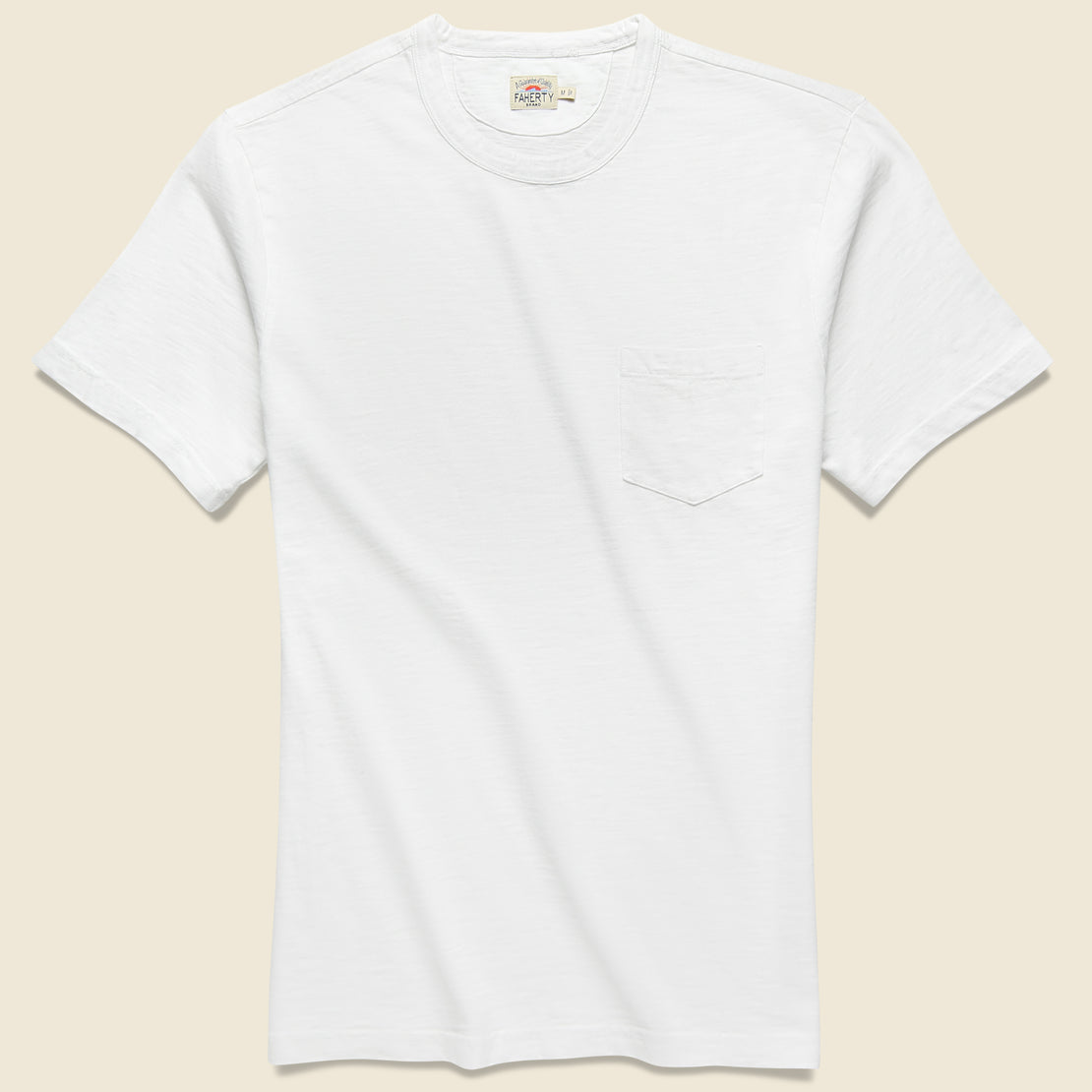 Faherty Garment Dye Pocket Tee - White