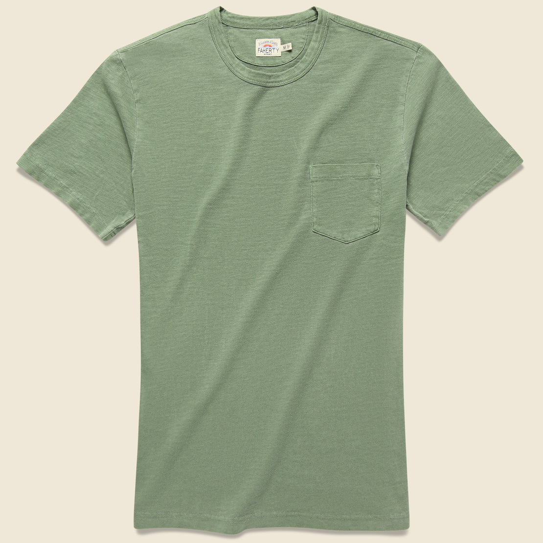 Faherty Garment Dye Pocket Tee - Spring Olive