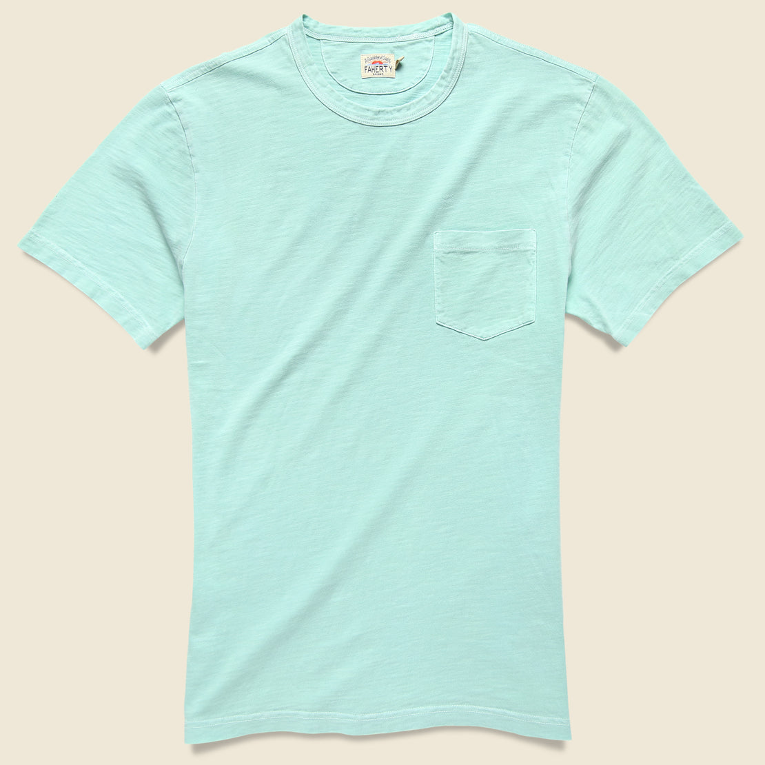 Faherty Garment Dyed Pocket Tee - Water Blue