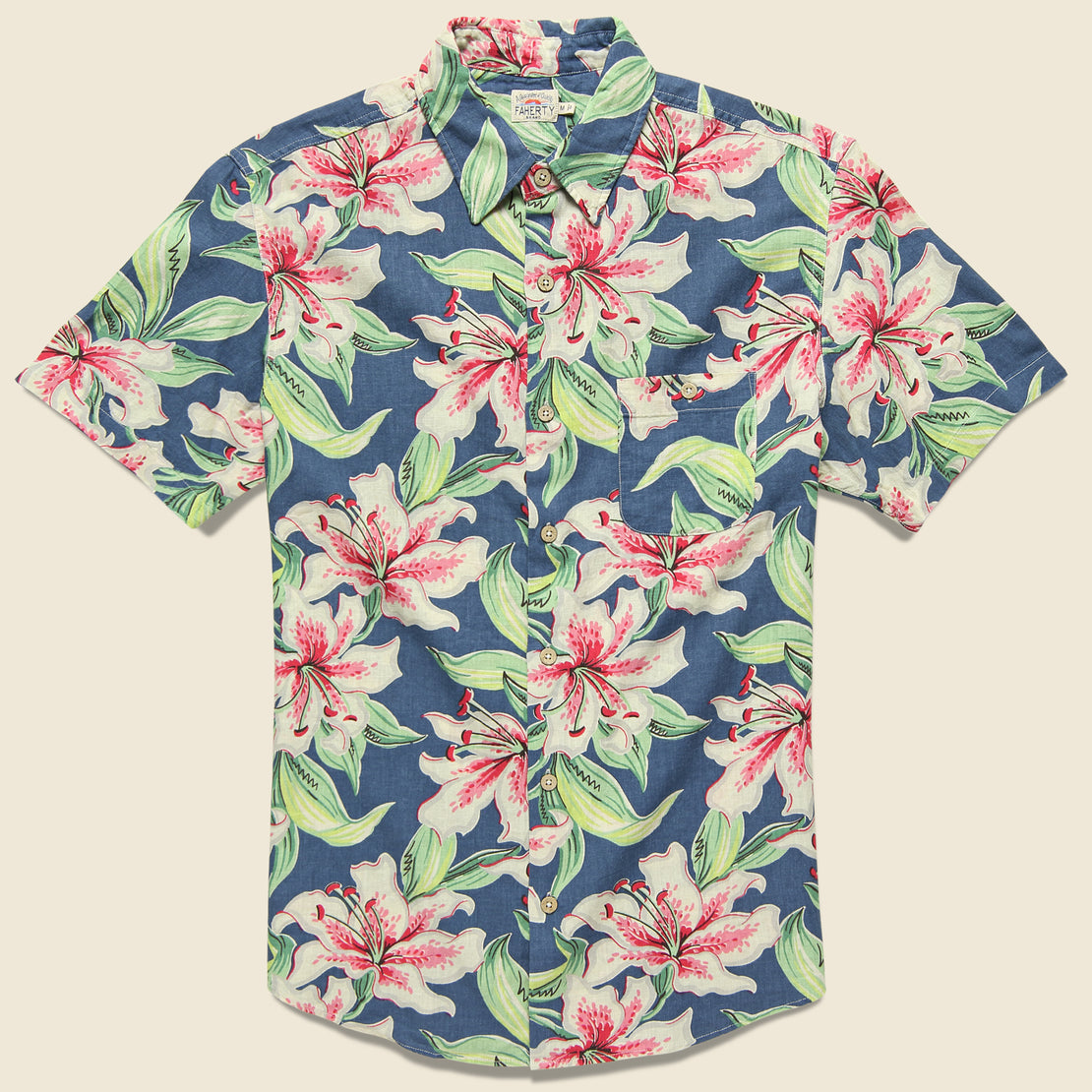 Faherty Tropical Atoll Shirt - Hibiscus Hawaiian