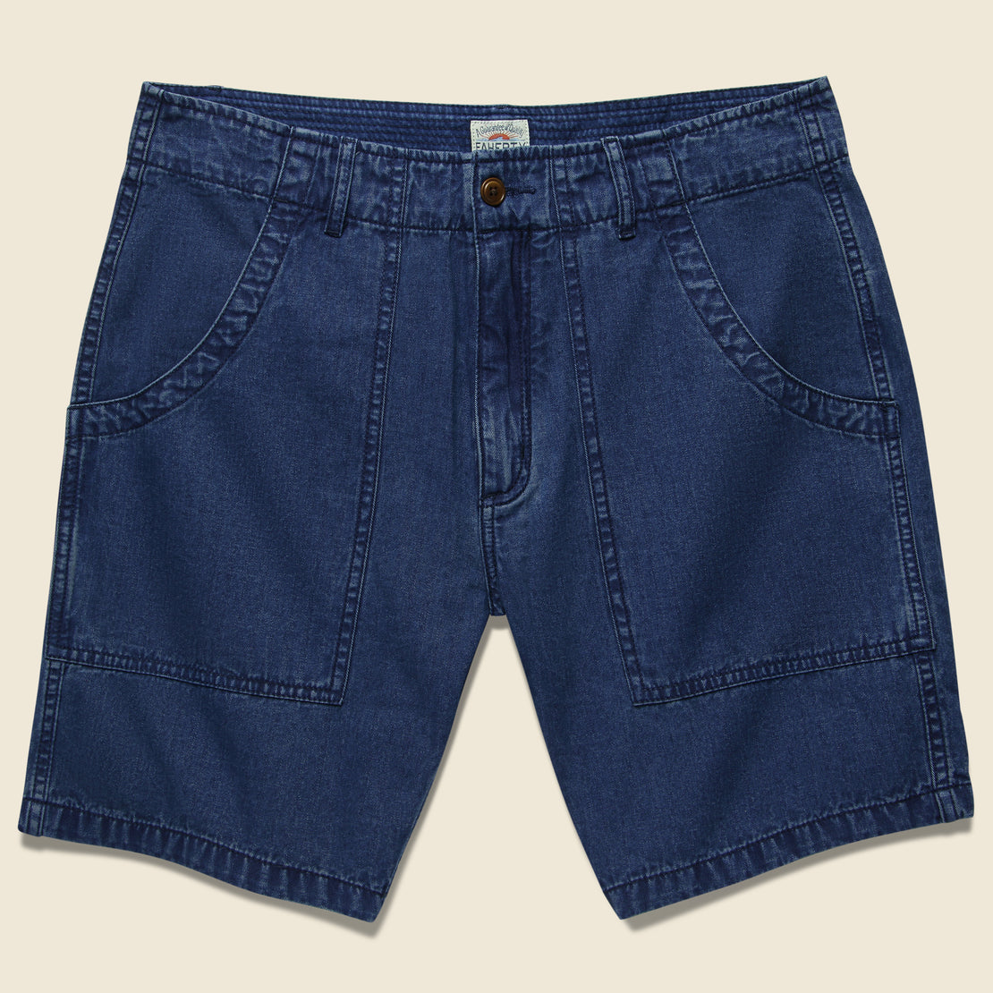 Faherty Camp Short - Washed Indigo Herringbone