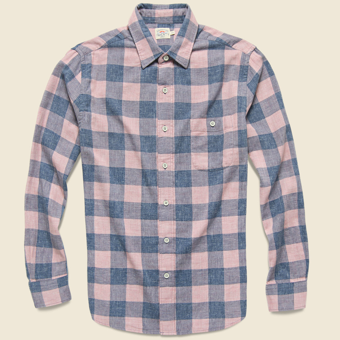 Faherty Doublecloth Seaview Shirt - Rose Buffalo Check