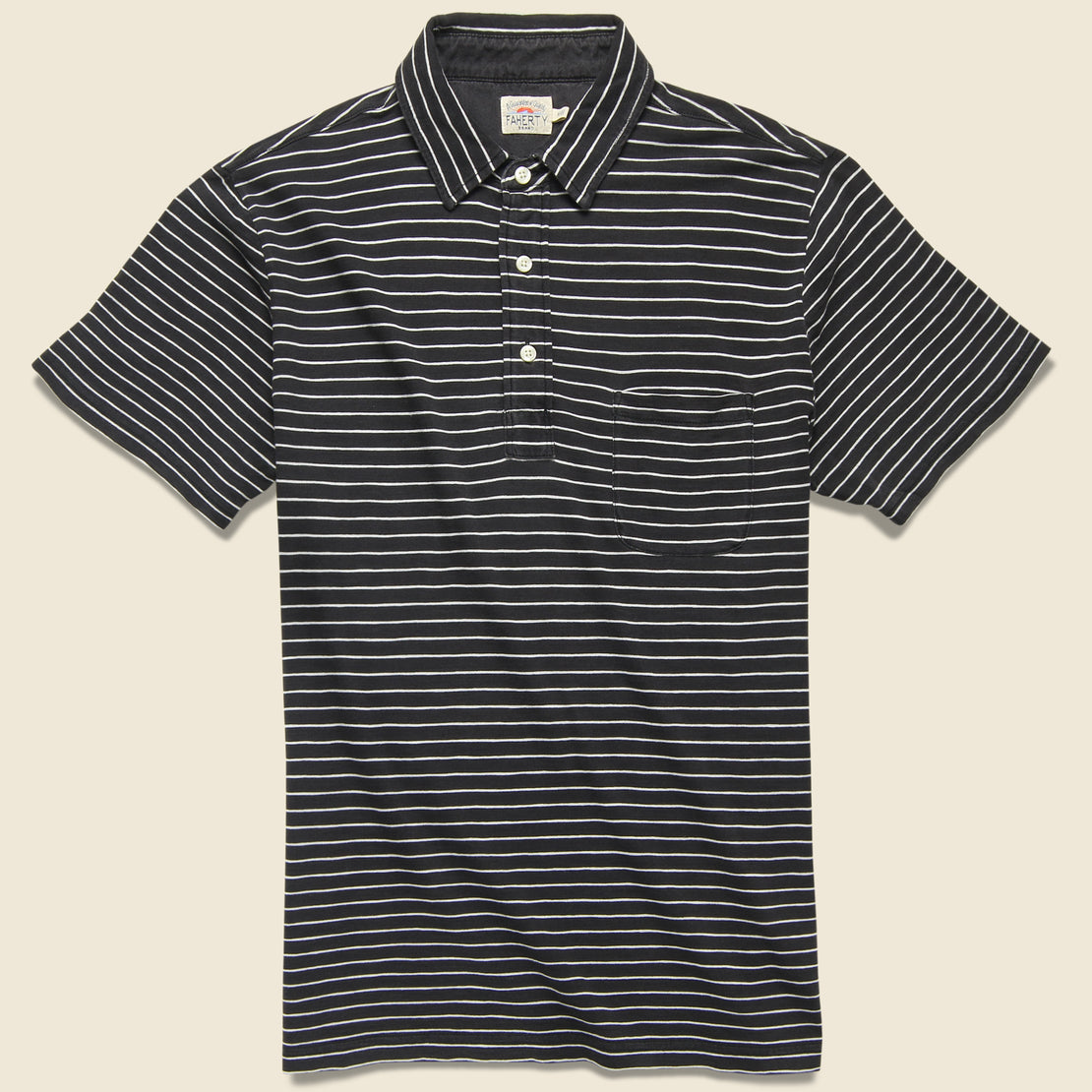 Faherty Jersey Beach Polo - Black/White