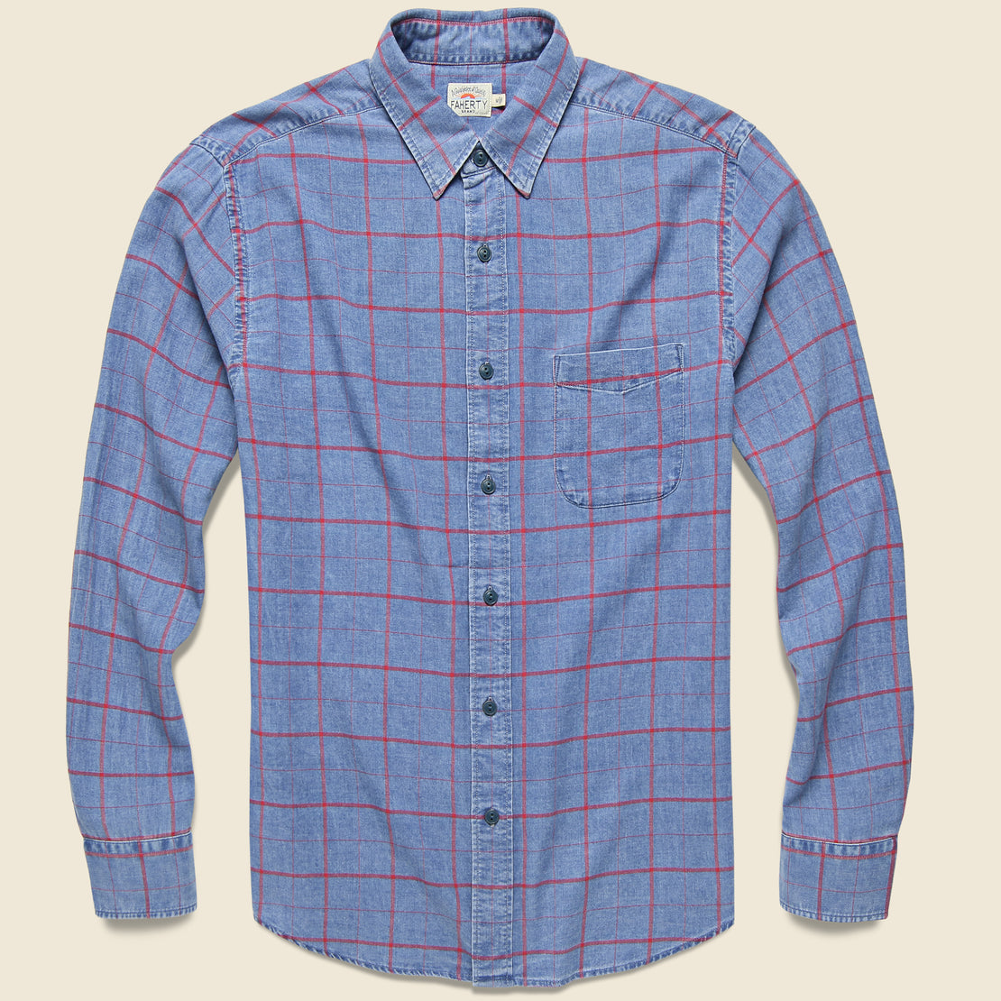 Faherty Ventura Shirt - Washed Red Windowpane