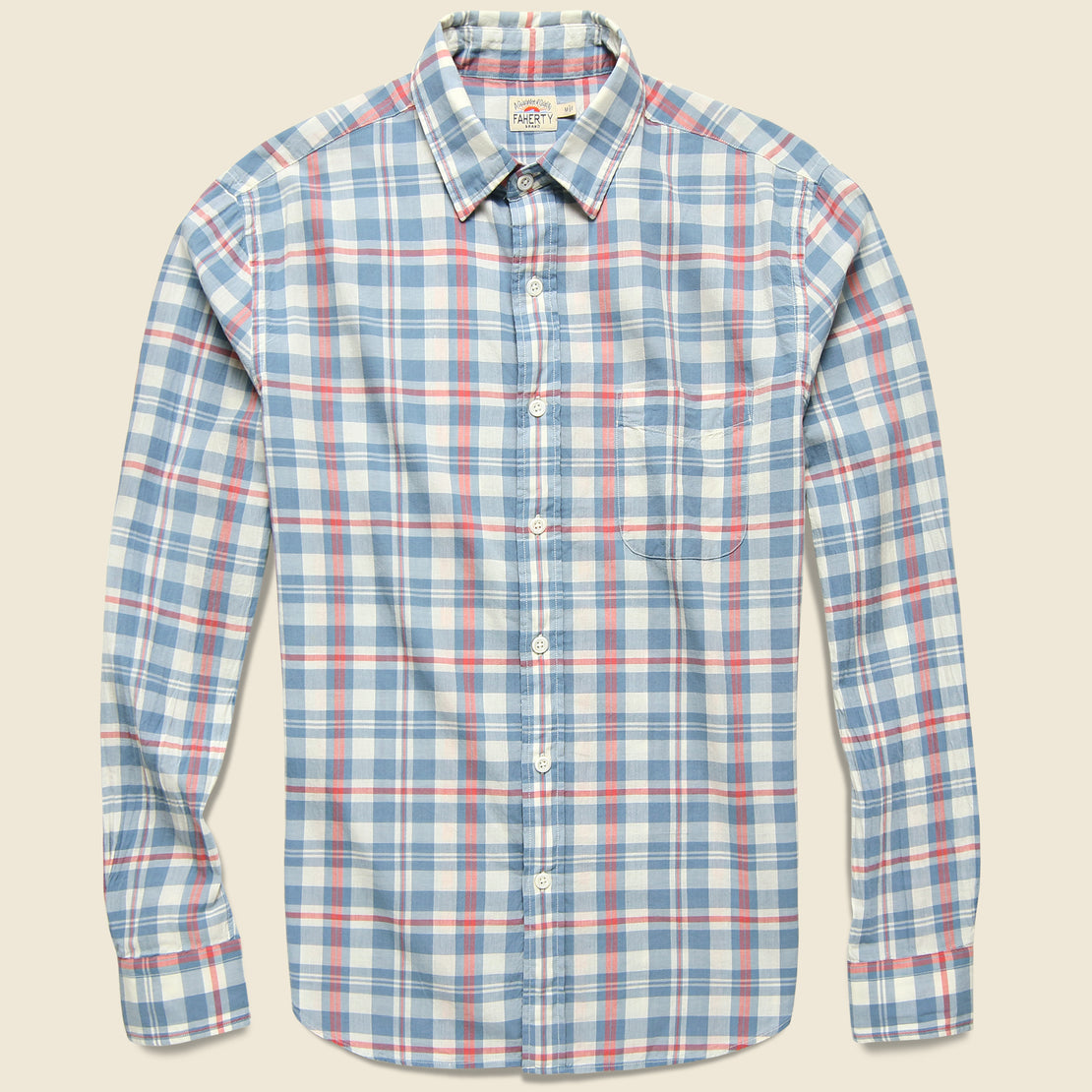 Faherty Ventura Shirt - Washed Cream Blue