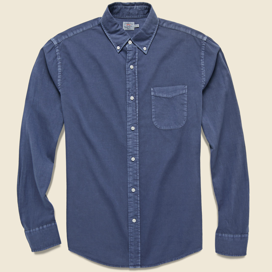 Faherty Garment Dyed Poplin Shirt - Navy