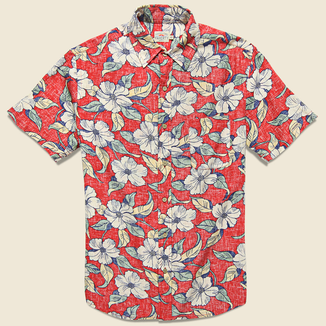 Faherty Reverse Print Coast Shirt - Red Retro
