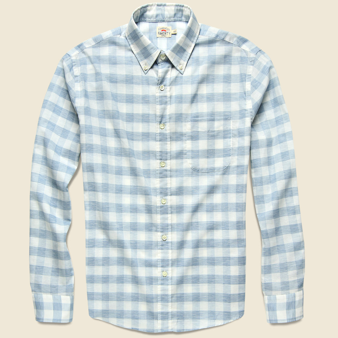 Faherty Stretch Summer Blend Shirt - White Blue Buffalo
