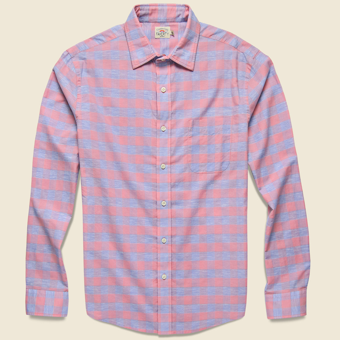 Faherty Stretch Summer Blend Shirt - Rose Buffalo Check