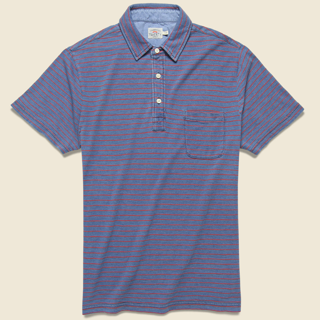 Faherty Faherty - S/S Indigo Jersey Beach Polo, SS19