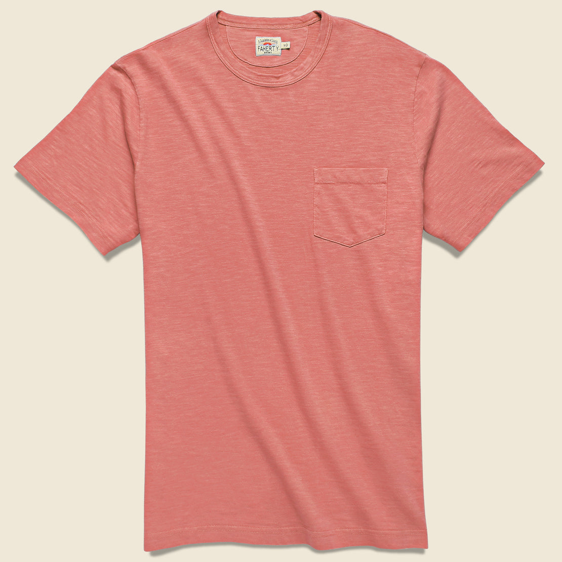 Faherty Garment Dyed Pocket Tee - New Red