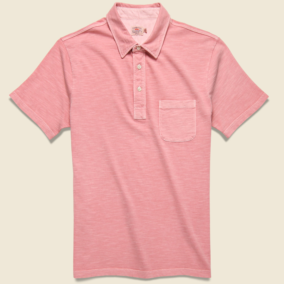 Faherty Garment Dyed Polo Shirt - Rose