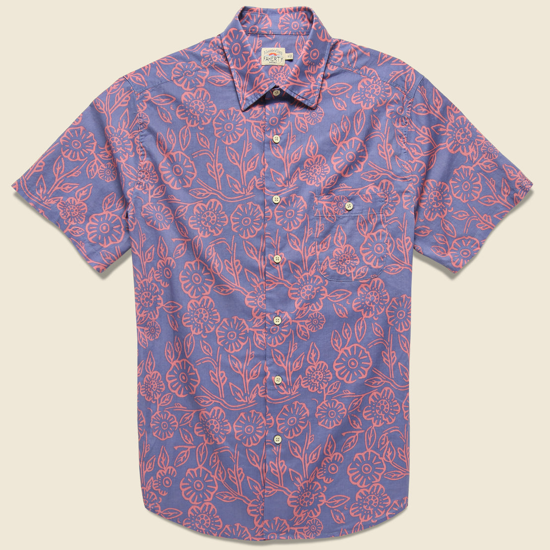 Faherty Reverse Print Coast Shirt - Pink Poppy