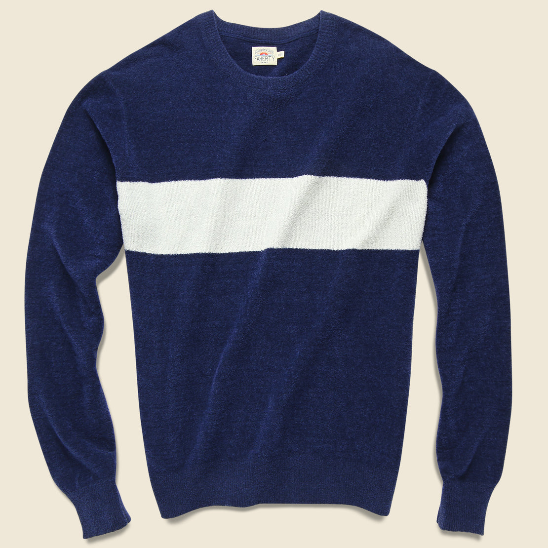 Faherty Coastal Loop Crewneck - Blue Surf Stripe