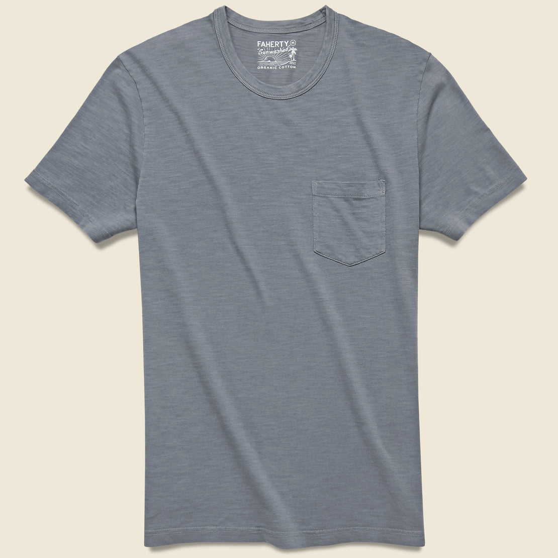 Faherty Garment Dyed Pocket Tee - Storm Blue