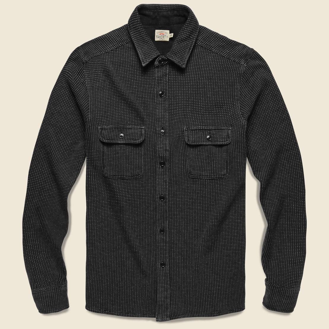 Faherty 18 Year Wash Knit Dobby Workshirt - Black Indigo