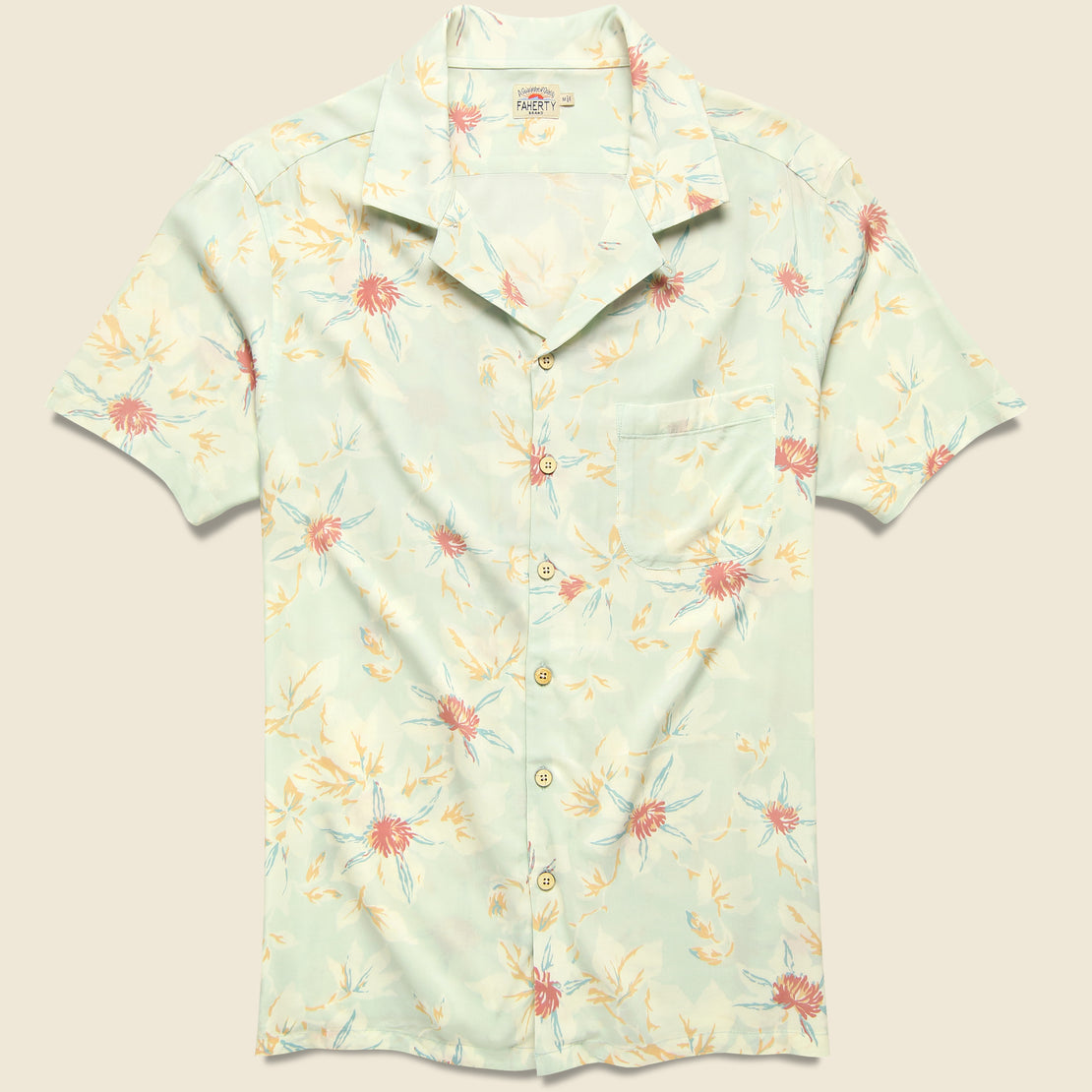 Faherty Kona Camp Shirt - Mint Floral