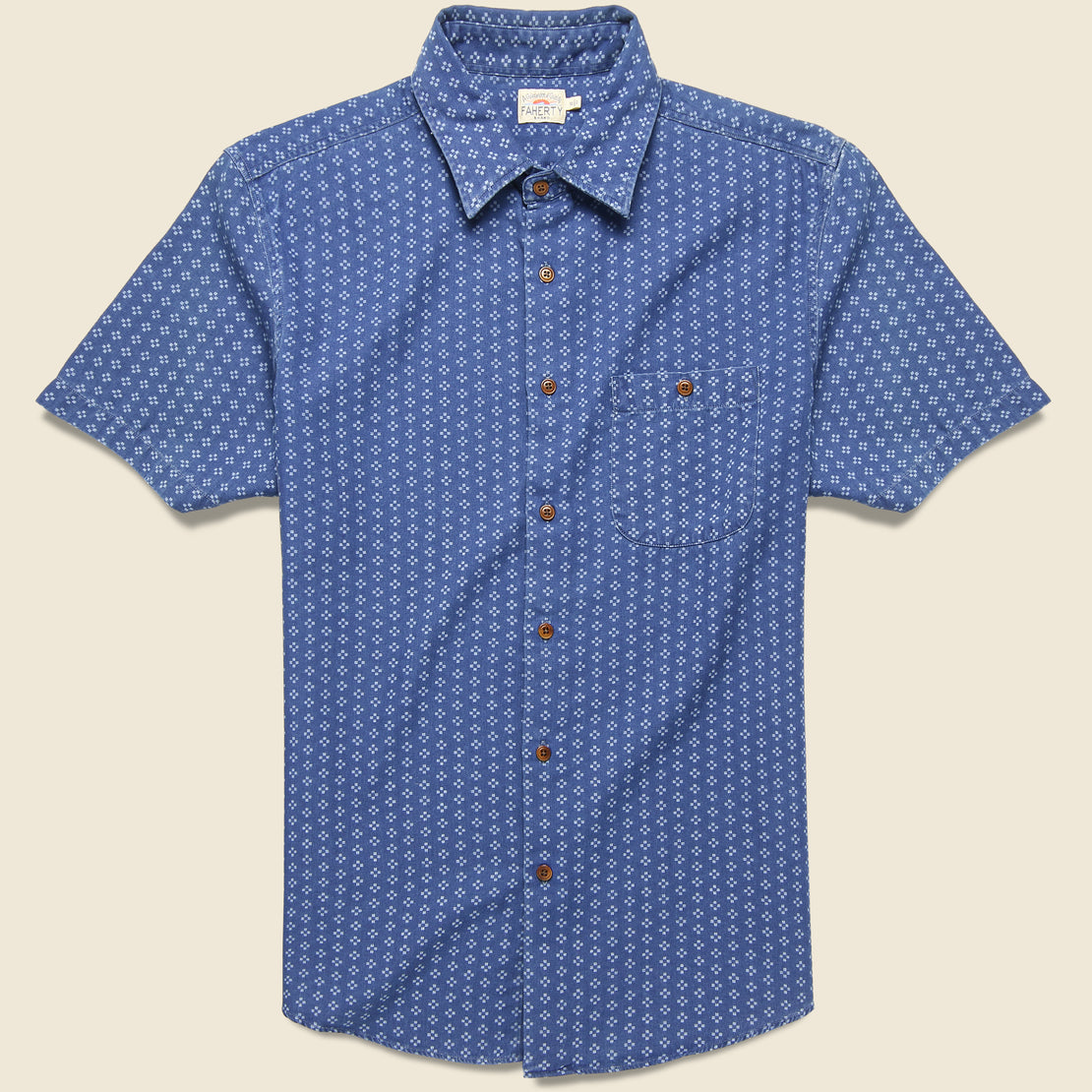 Faherty Playa Shirt - Eco Indigo Geo