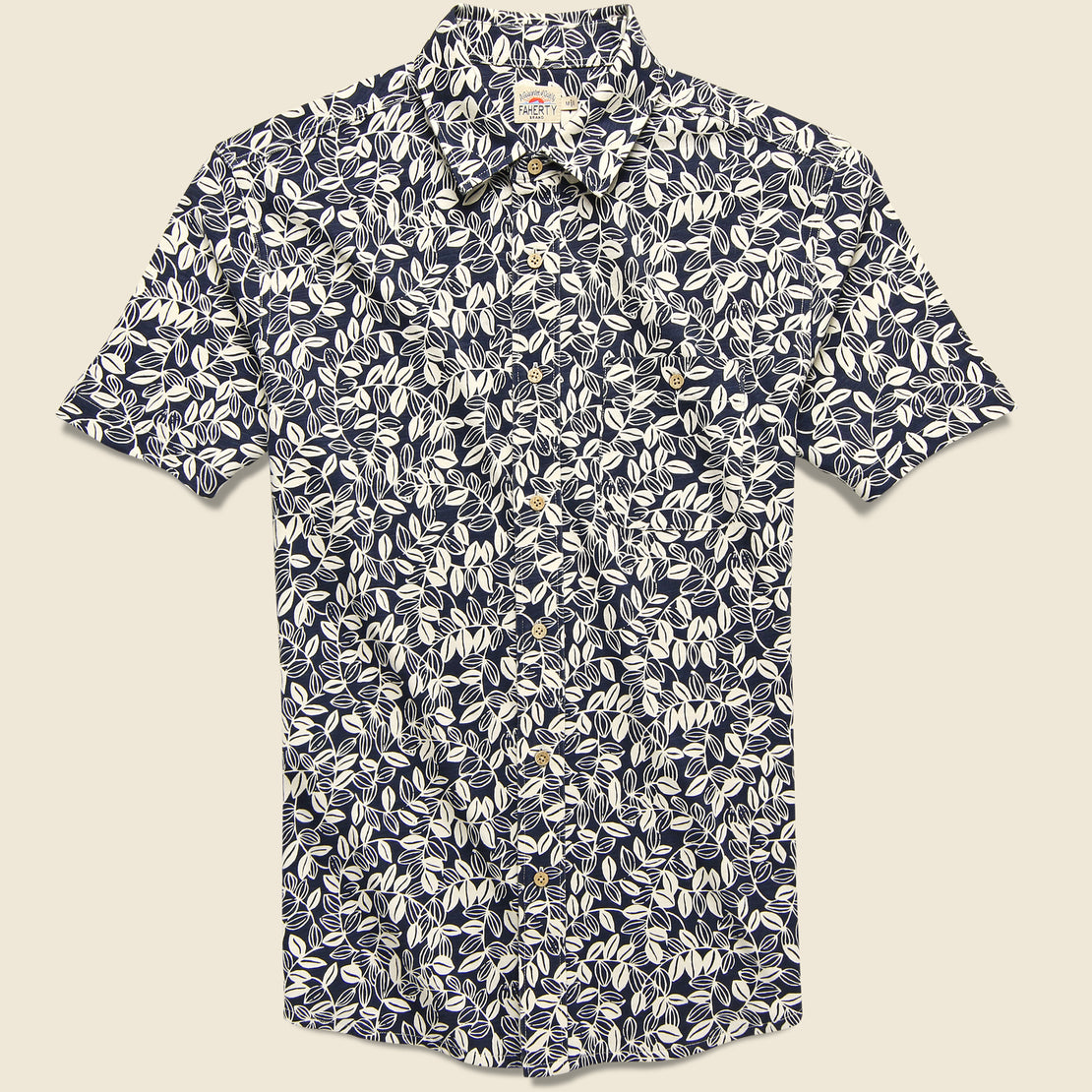 Faherty Knit Seasons Shirt - Navy Avallinas Print