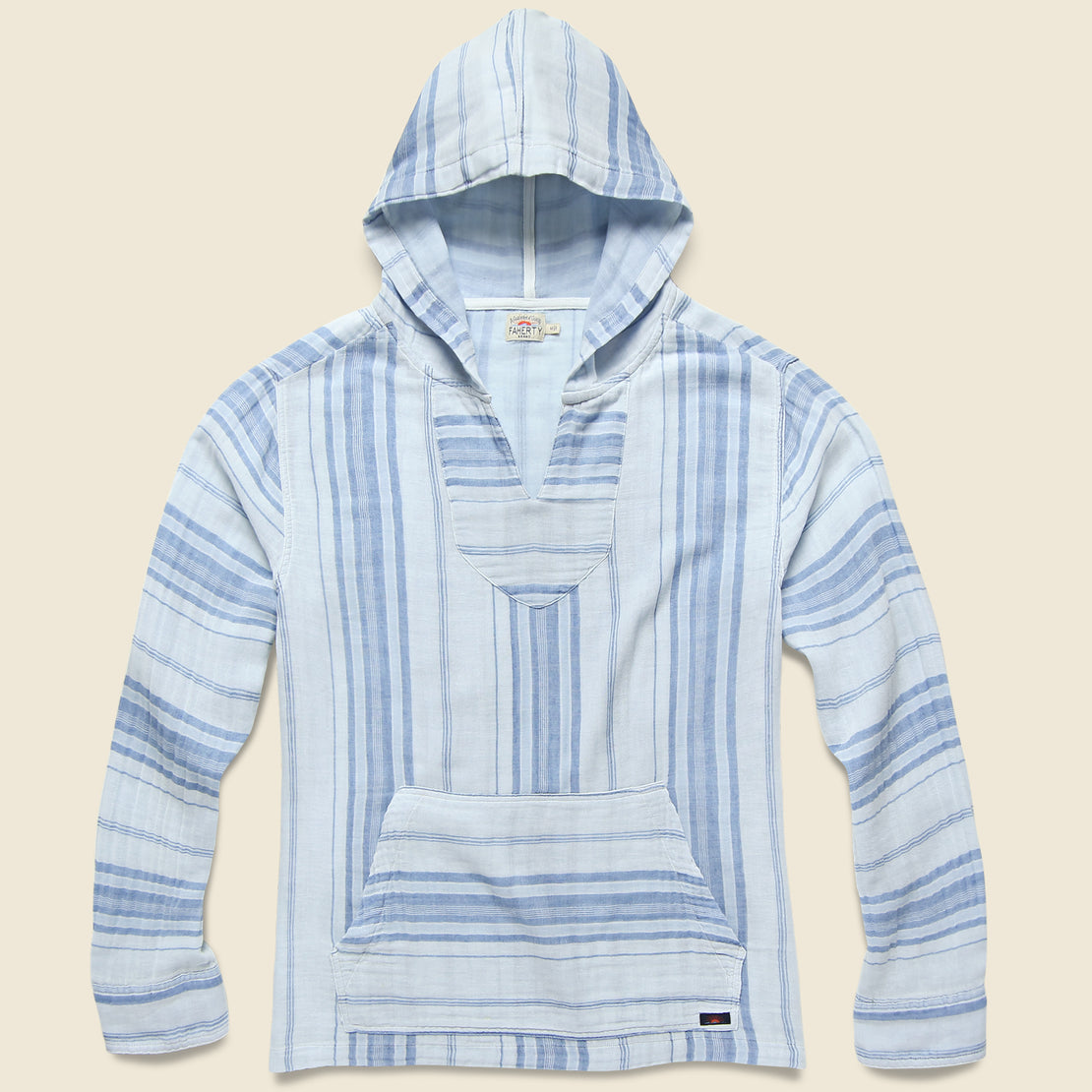 Faherty Doublecloth Baja Poncho - Light Indigo Serape