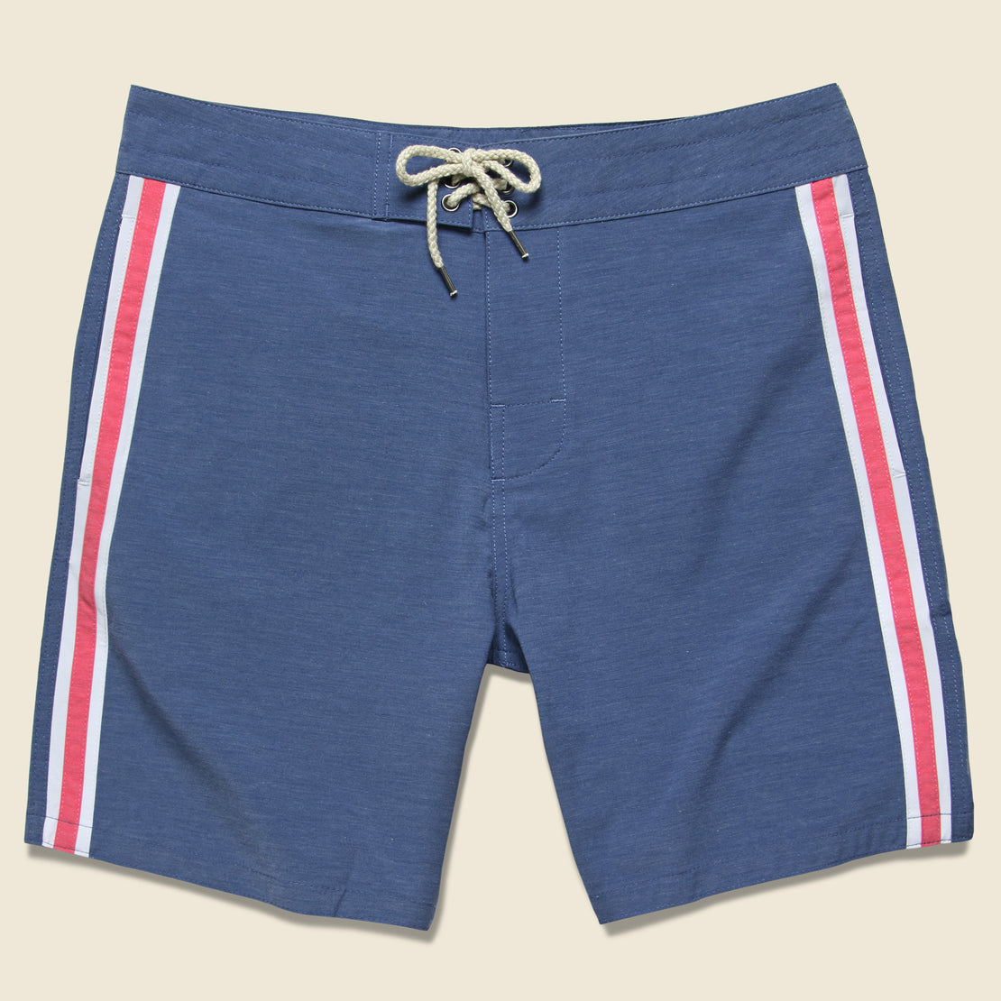 Faherty Retro Surf Stripe Boardshort - Blue/Red/White