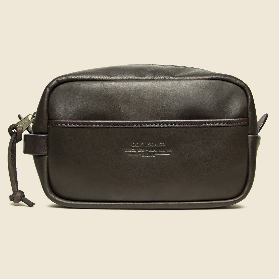 Filson Weatherproof Leather Travel Kit - Sierra Brown