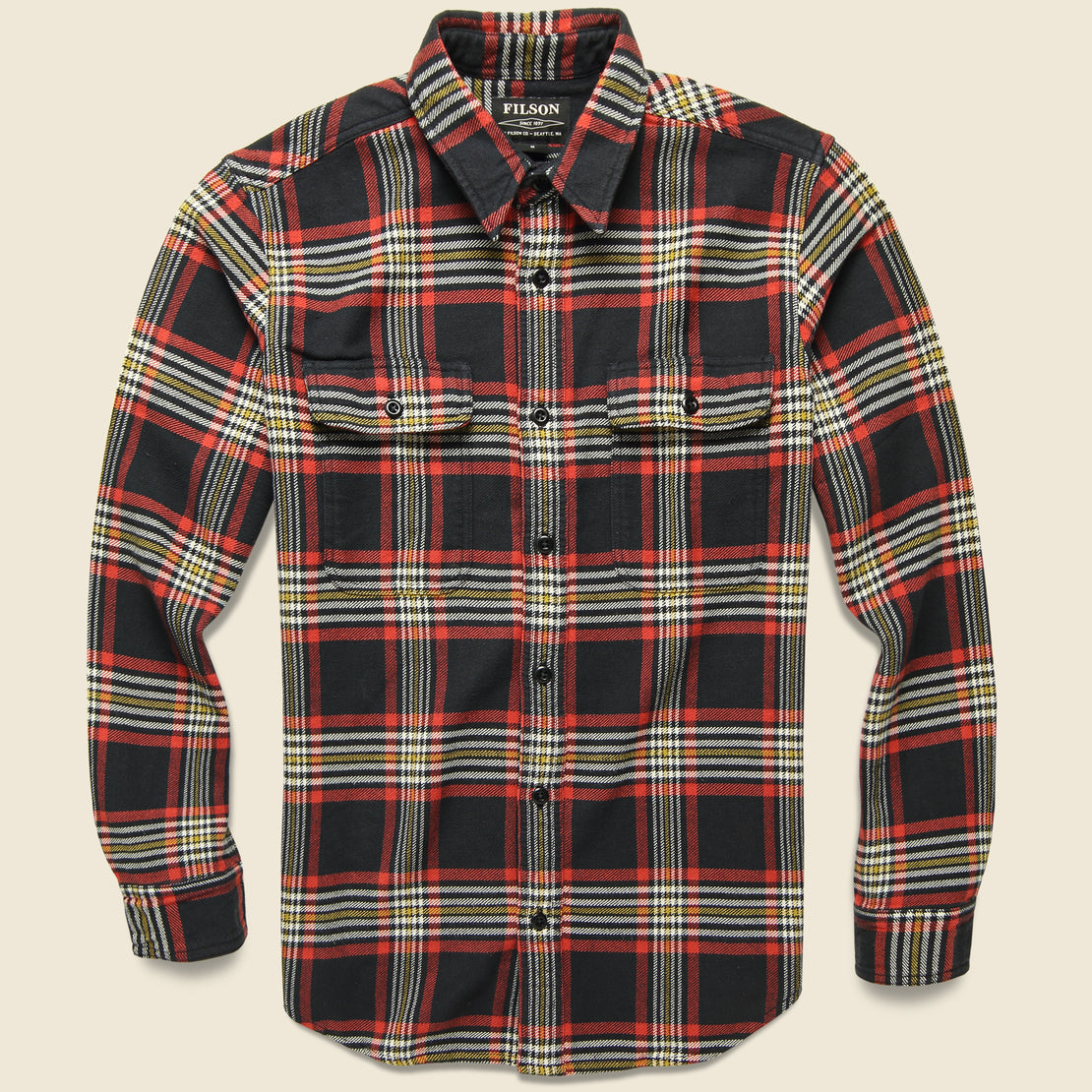 Filson Vintage Flannel Workshirt - Black/Red/Gold