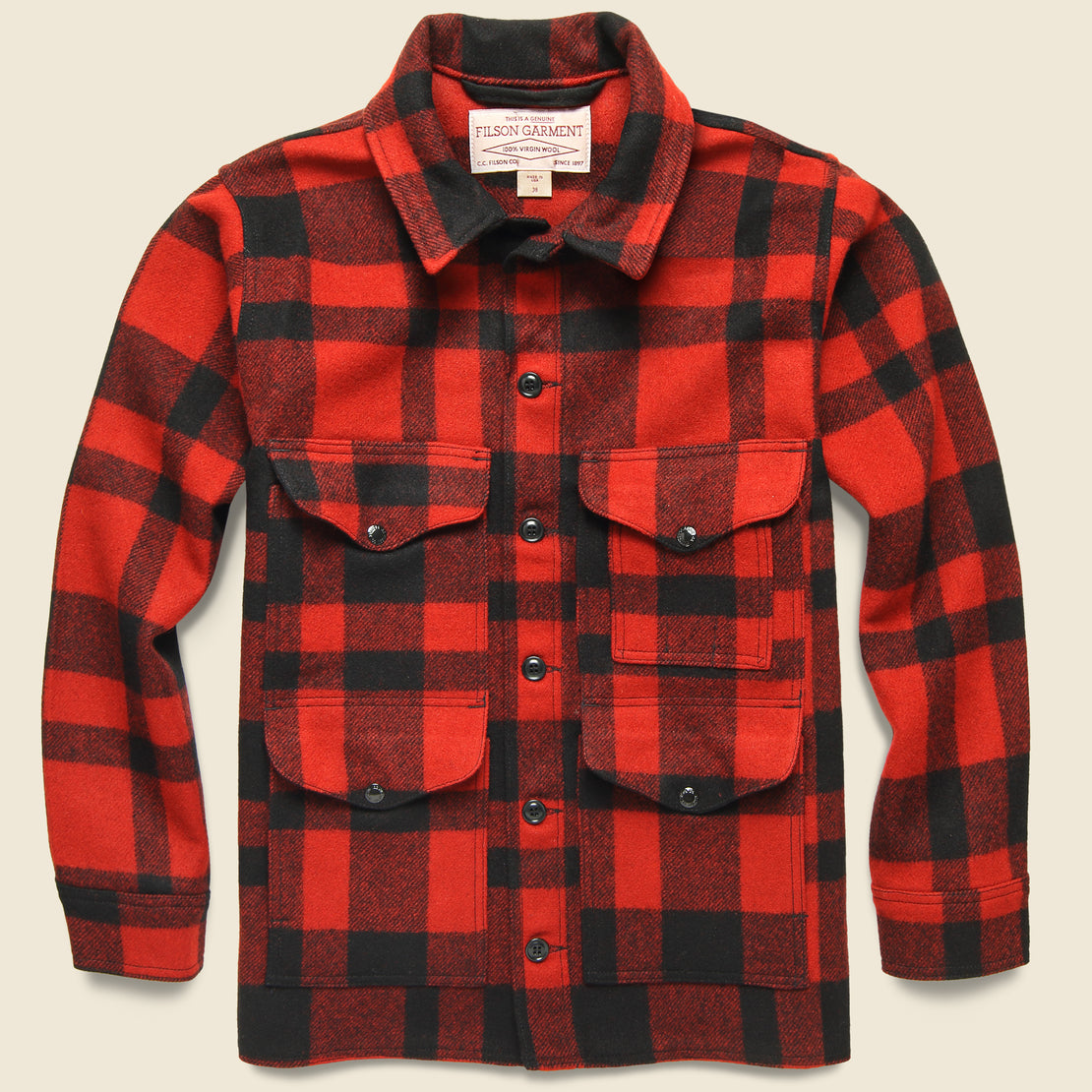 Filson Mackinaw Wool Cruiser Jacket - Red/Black