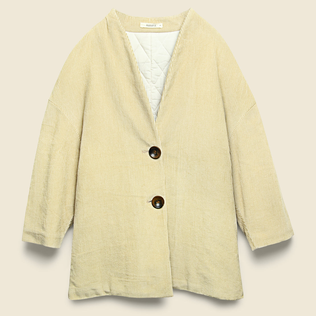 Filosofia Isabella Padded Corduroy Coat - Light Beige