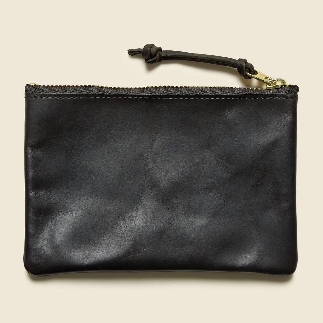 Leather Zip Medium Pouch - Brown