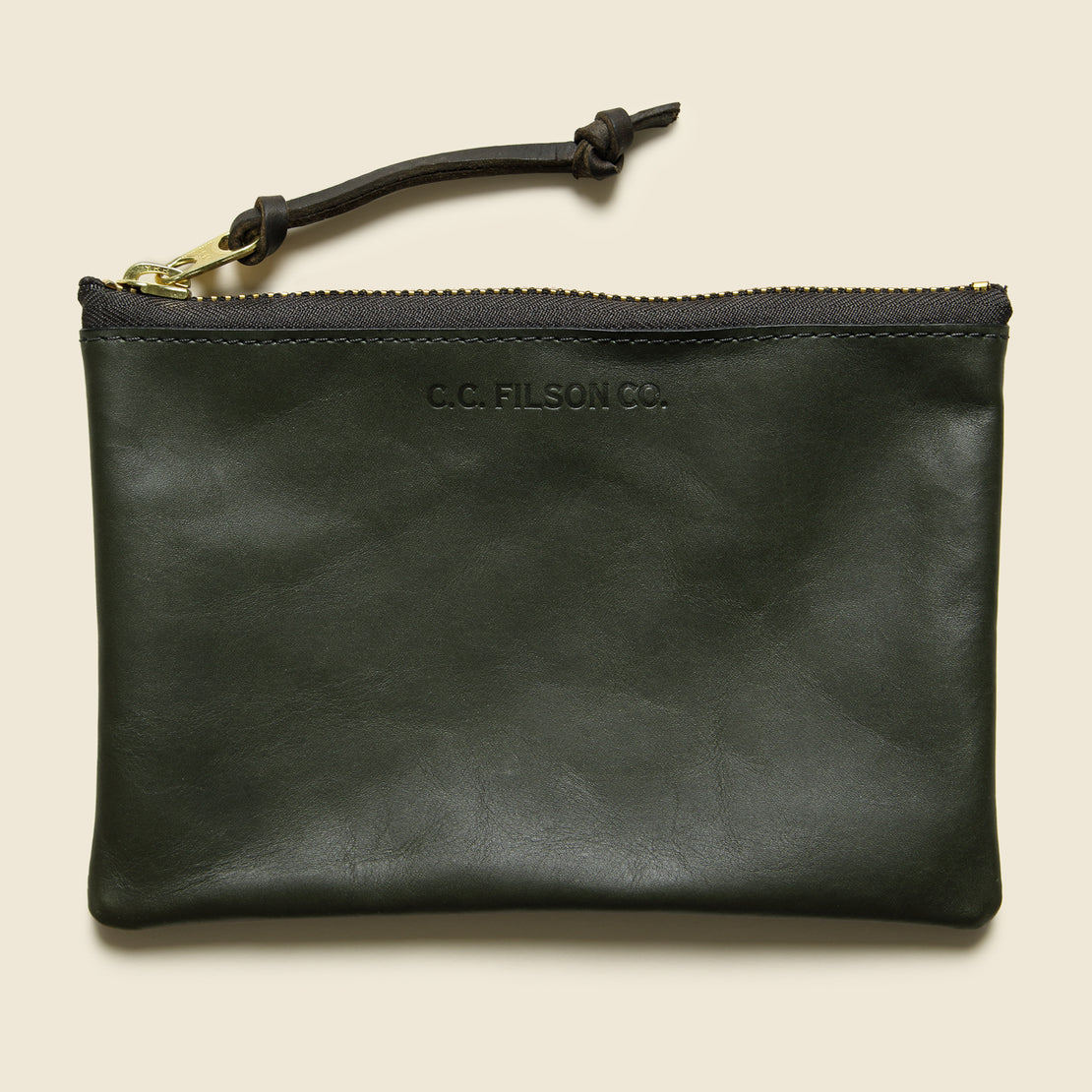 Leather Zip Medium Pouch - Moss