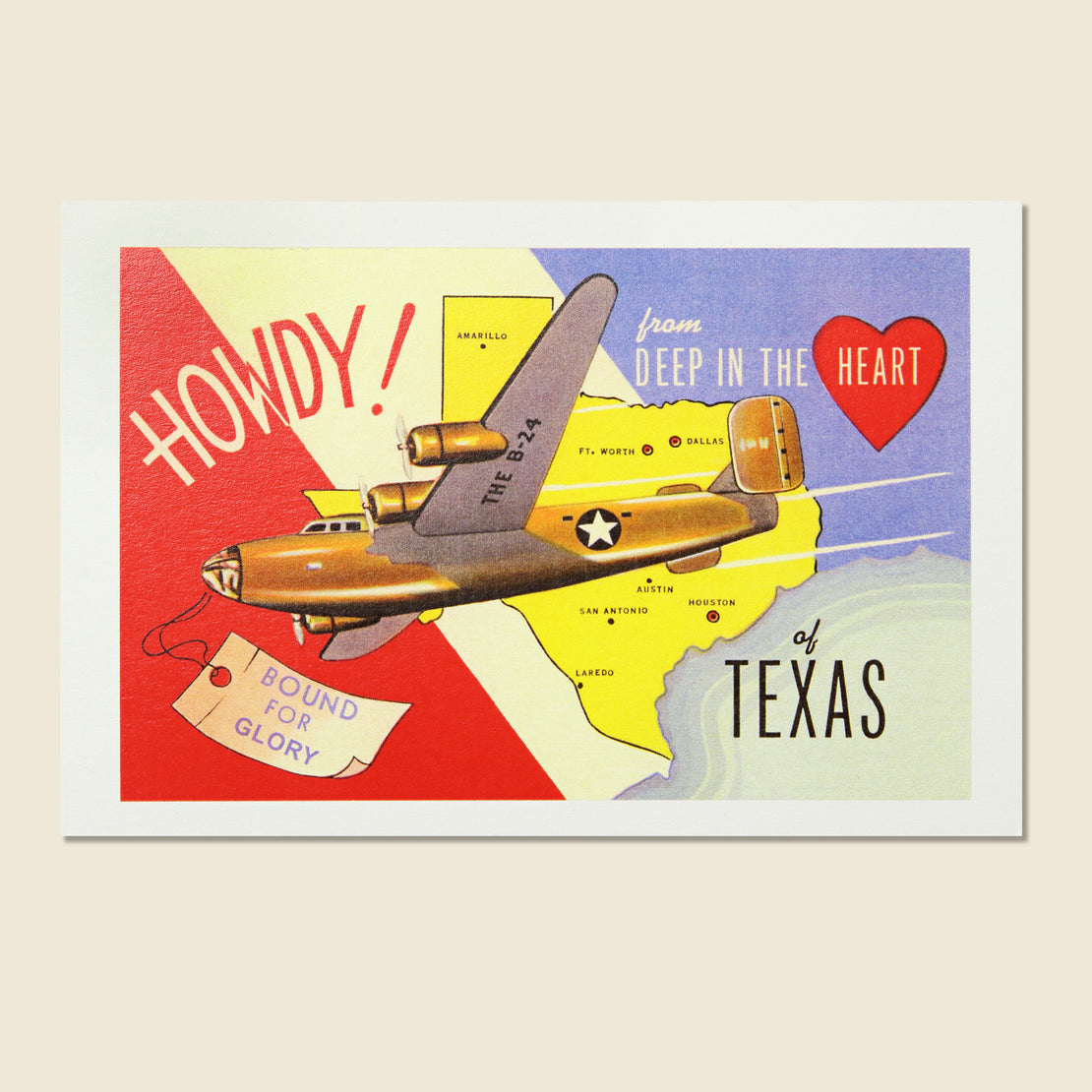 Found Image Postcard - Howdy Texas Airplane