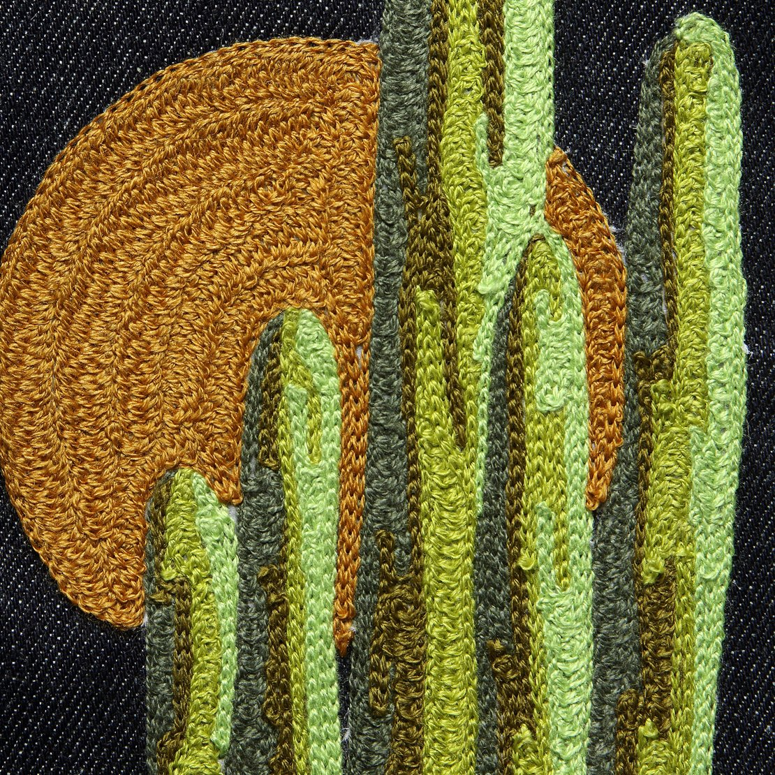 Large Direct Stitch Embroidery - Sunset Saguaro Cactus