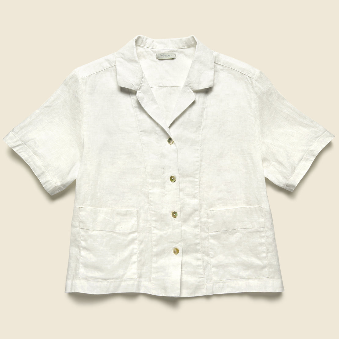Fog Linen Front Pocket Shirt - White